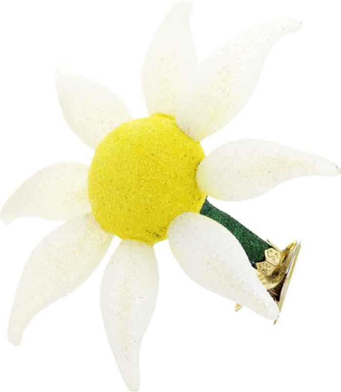 Daisy free blown glass ornament
