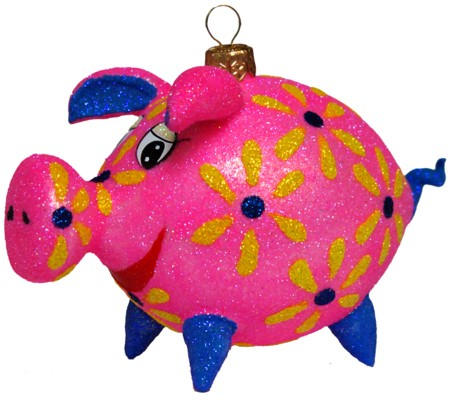 Pig free blown glass ornament