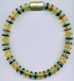 Multicolored amber disks and enamel silver necklace/chocker