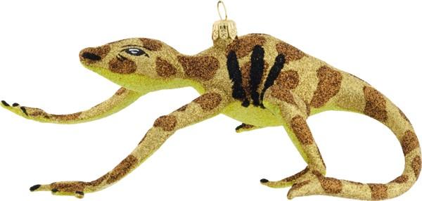 Lizard free blown glass Christmas ornament