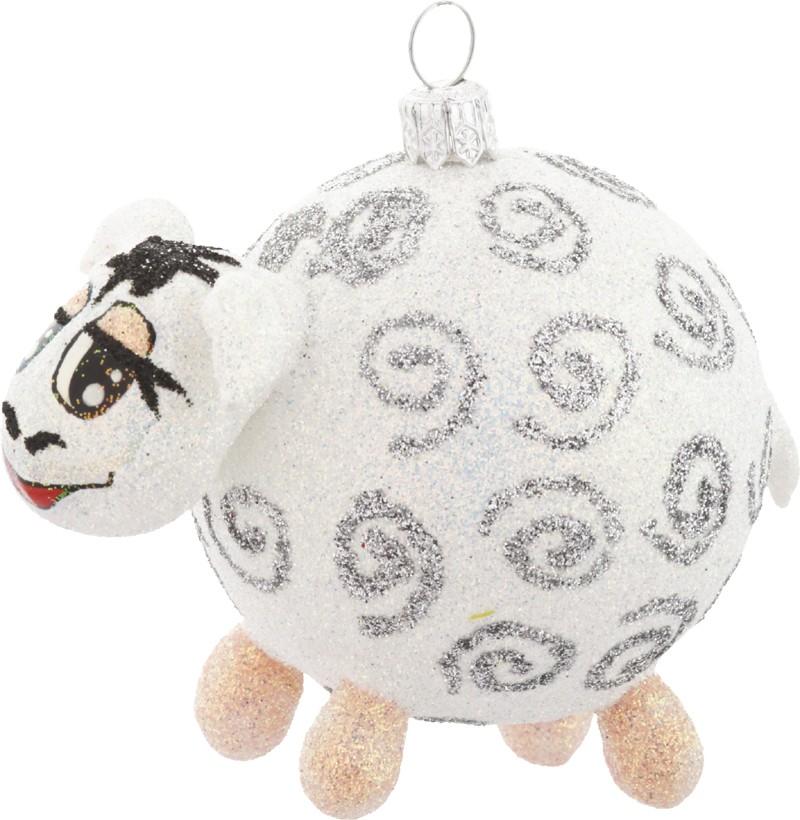 Lamb glass Christmas ornament