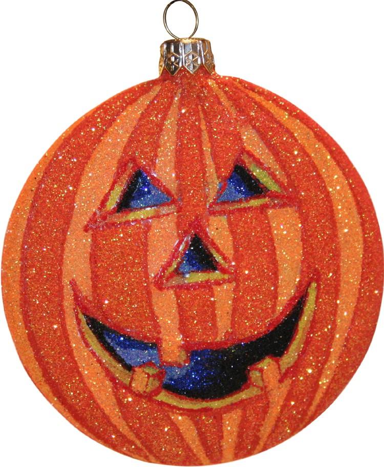 Pumpkin glass Christmas ornament