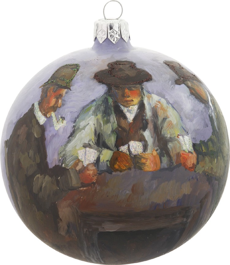 Cezanne's The Cards Players glass ornament