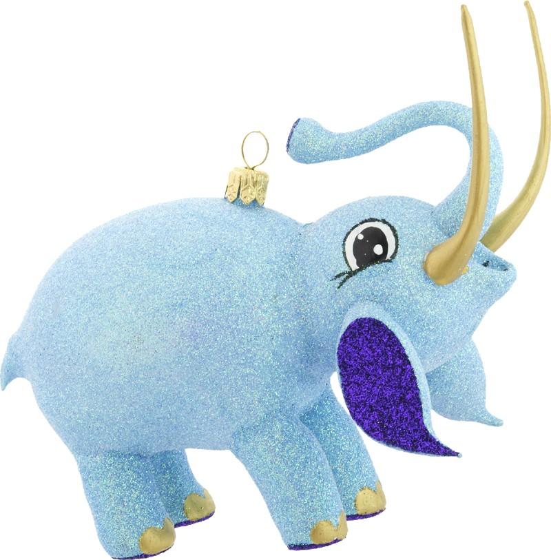 Blue free blown glass Christmas elephant
