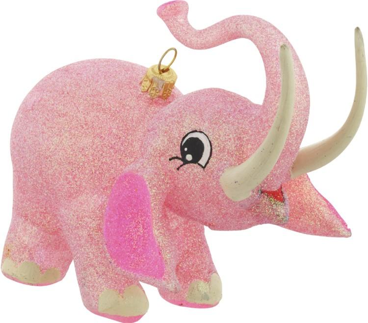 Pink elephant glass Christmas ornament