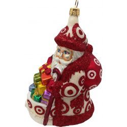 Bulls eye Santa glass Christmas ornament