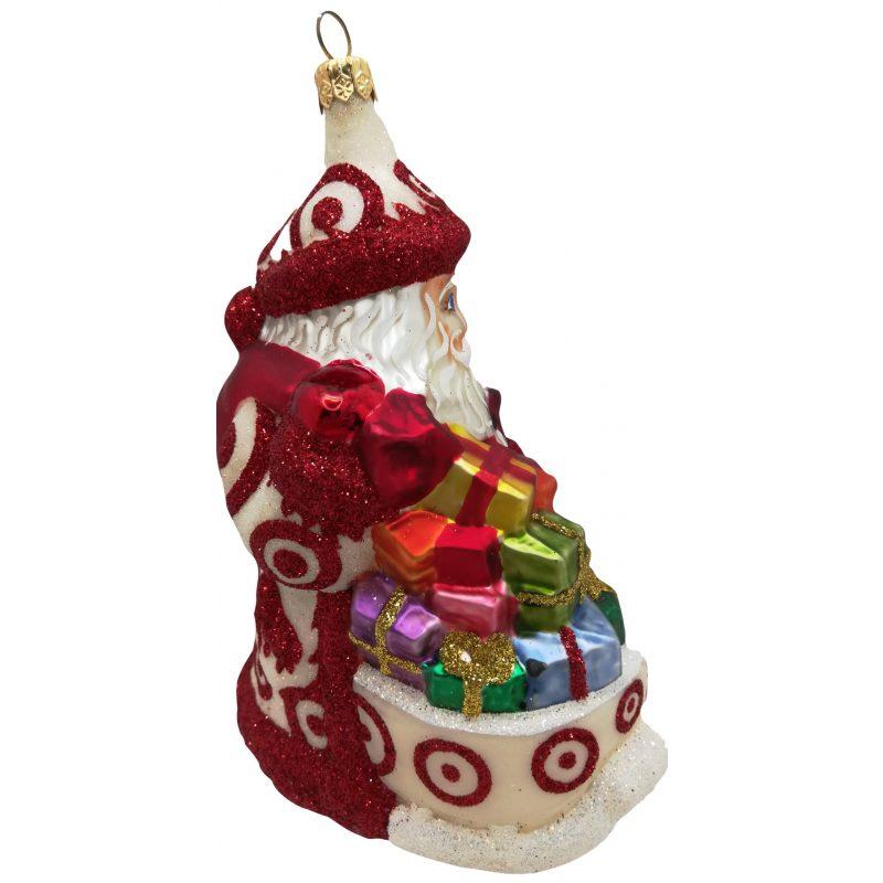 Bulls eye Santa glass Christmas ornament