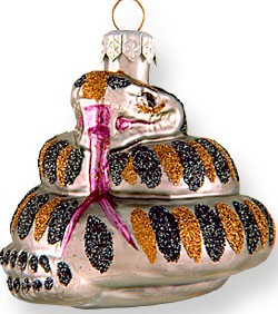 Coiled Snake glass ornament