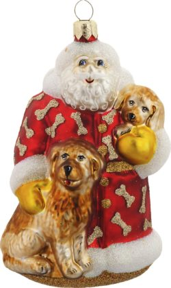 Santa's Best Friends glass ornament