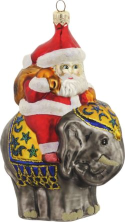 Santa on elephant glass ornament