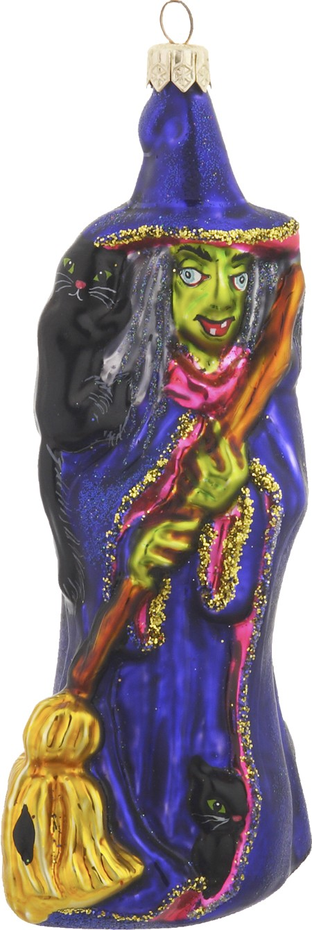 Witch with black cats ornament