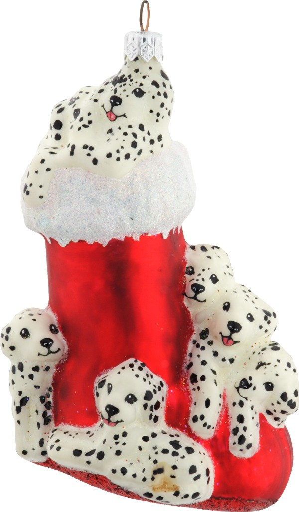 Christmas stocking with dalmatians ornament