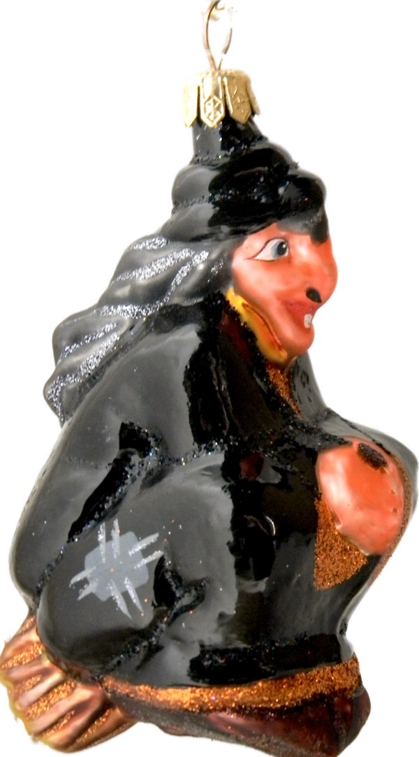 Witch flying in Christmas ornament