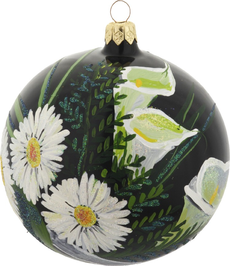 Daisies and Orchids glass tree ornament