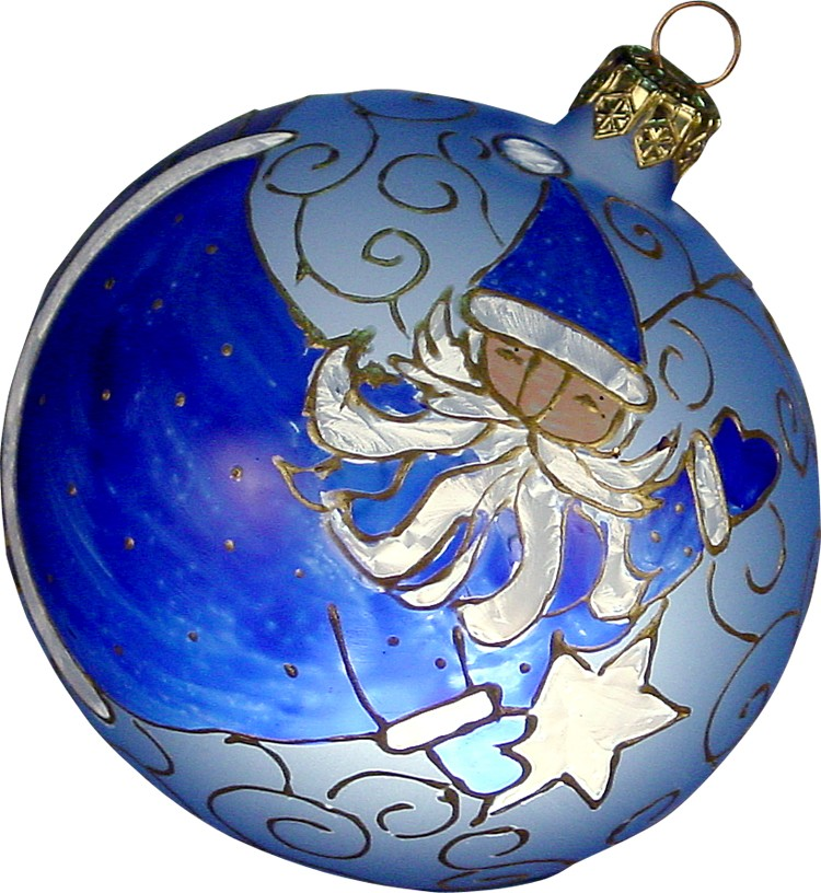 Azor Santa glass Christmas ornament