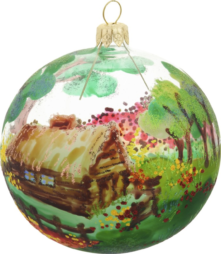 Country Lodge glass Christmas ornametn