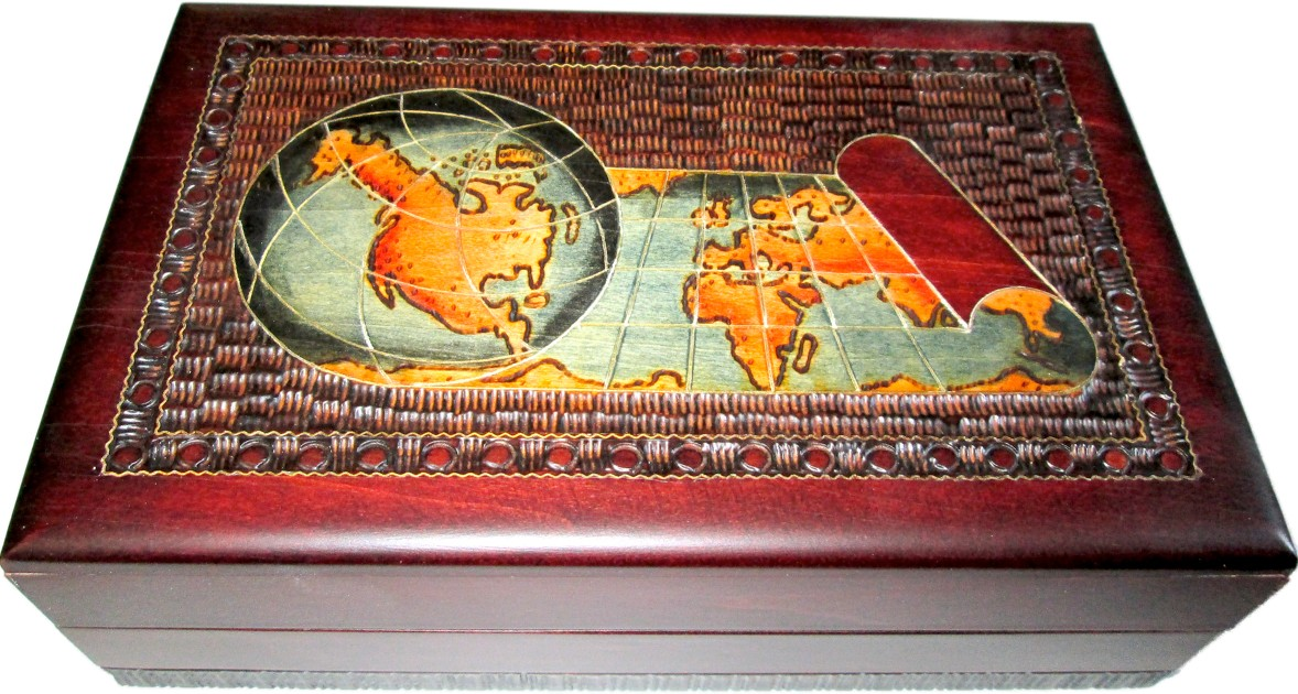 World map on an antique scroll Classic wooden box