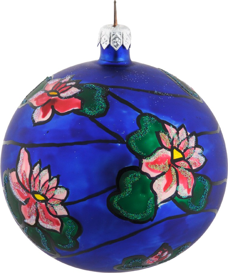 Tiffany's Water Lilies glass Christmas ornament