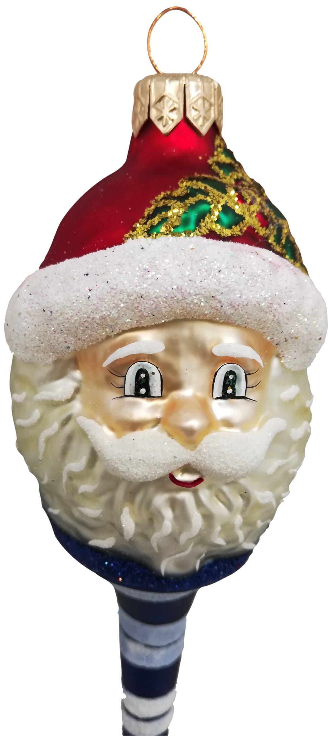 Blue Lollypop Santa Christmas ornament-closeup