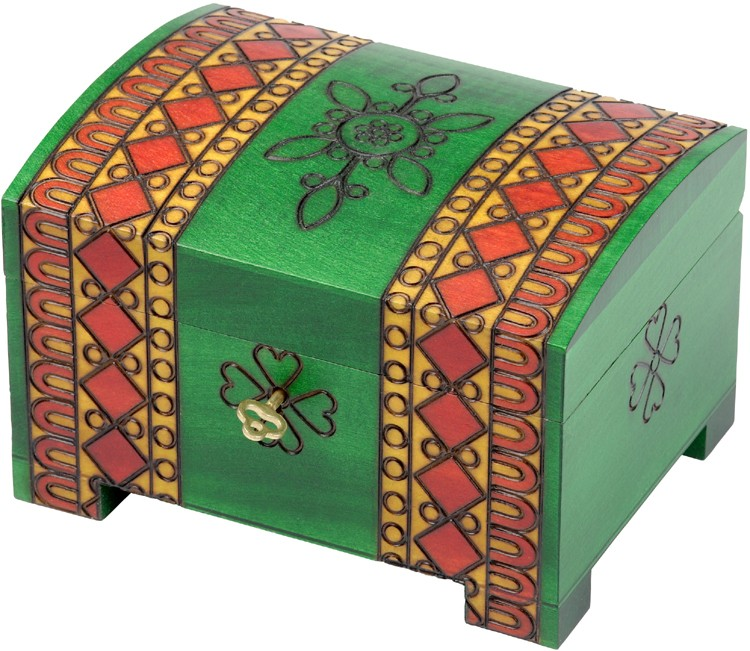 A green wood chest with red diamond design and a key