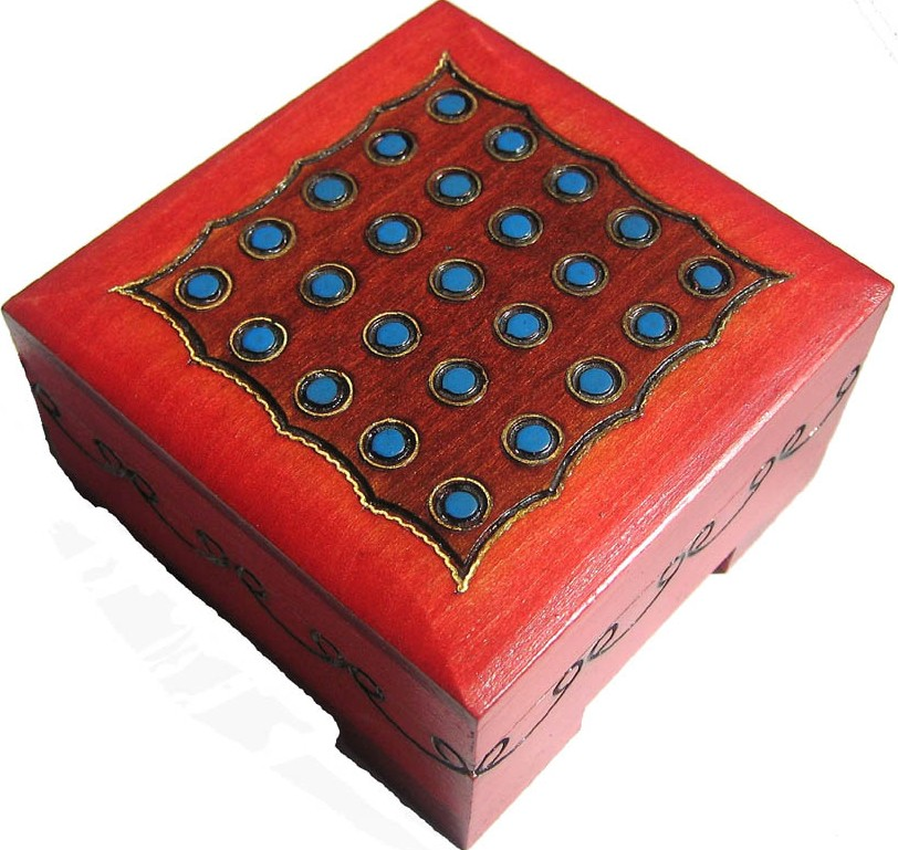 Square wood box with brass inlaid dots