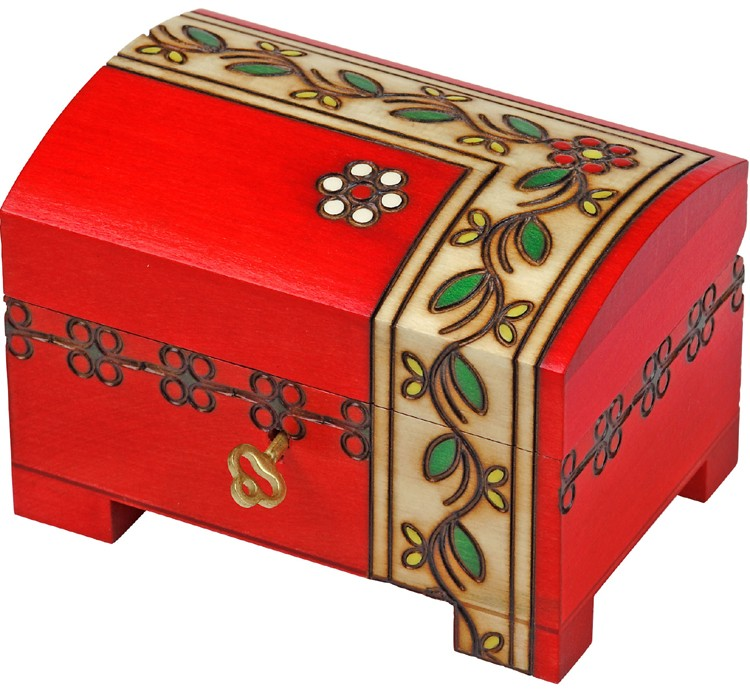 Red chest with border design of vine and leaves with lock and key