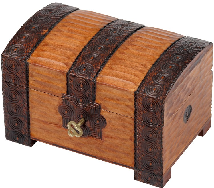 A brown wooden chest with a branded trunk design with lock and key