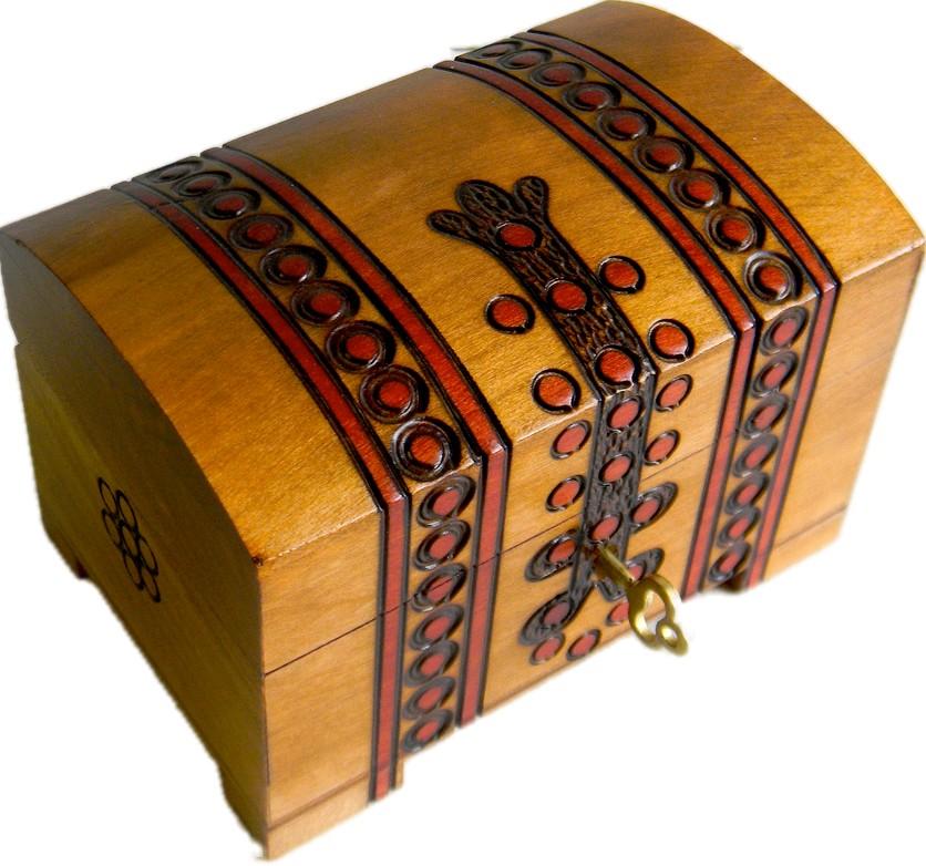A beige wooden keepsake chest with old trunk design
