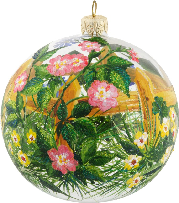 Floral glass Christmas ornament