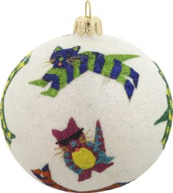 Cat glass Christmas ornament