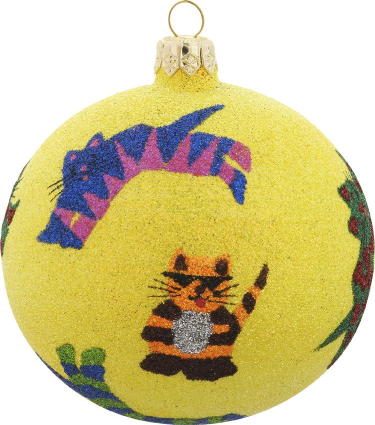 Whimsical cat glass Christmas ornament