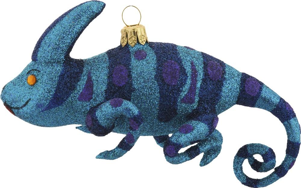 Blue Chameleon free blown ornament