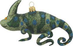Chameleon glass Christmas ornament