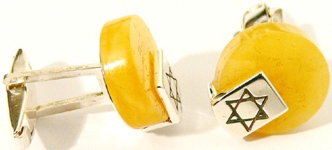Round lemon Baltic amber cufflinks with sterling silver Jewish Star