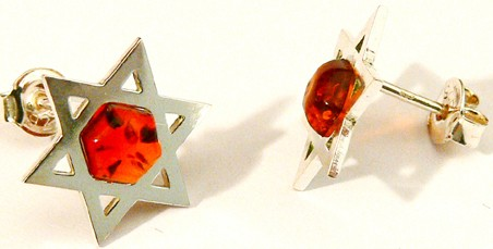 Star of David silver and honey Baltic amber earrings