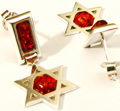 Star of David sterling silver and honey Baltic amber earrings