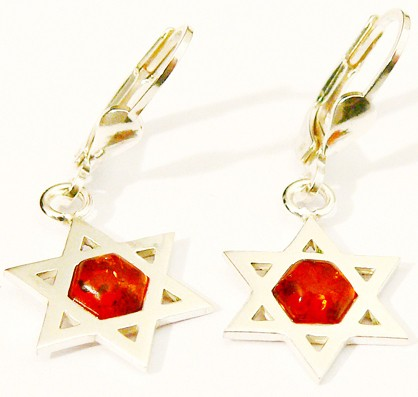 Sterling silver Judaica Baltic amber earrings