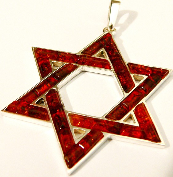 Jewish star pendent of cognac Baltic amber