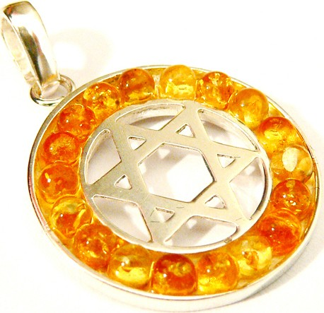 Pendant of silver Jewish star surrounded by diamond cut lemon Baltic amber