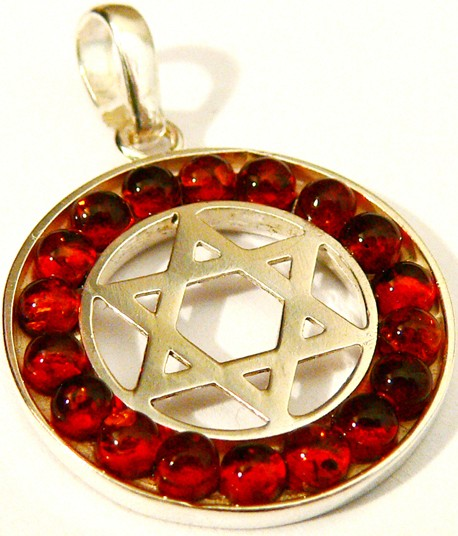 Silver Jewish star surrounded by cognac Baltic amber.