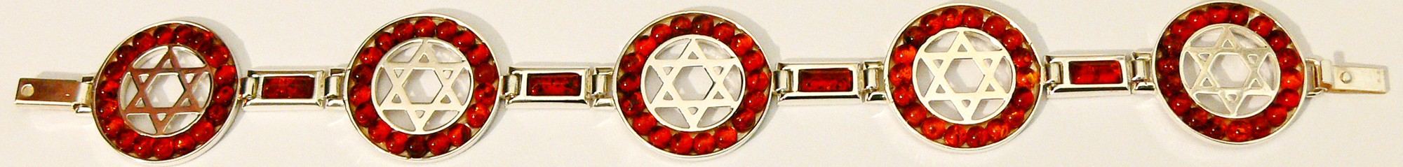 Silver stars of David and cherry Baltic amber bracelet