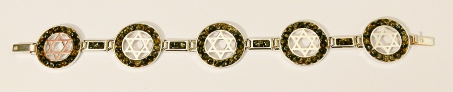 Judaica sterling silver stars of David and green Baltic amber bracelet