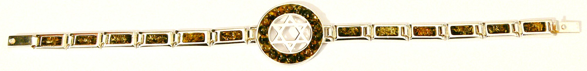 Green Baltic amber bracelet with sterling silver Jewish star
