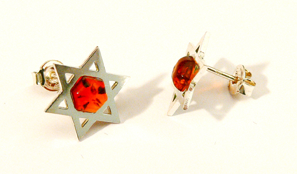 Star of David amber earring