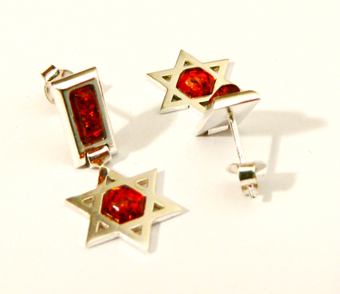 Star of David silver and amber earring