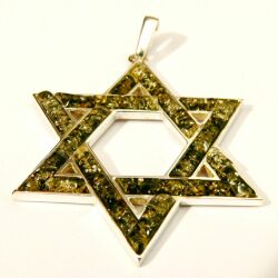 Green amber Judaica pendant -pin