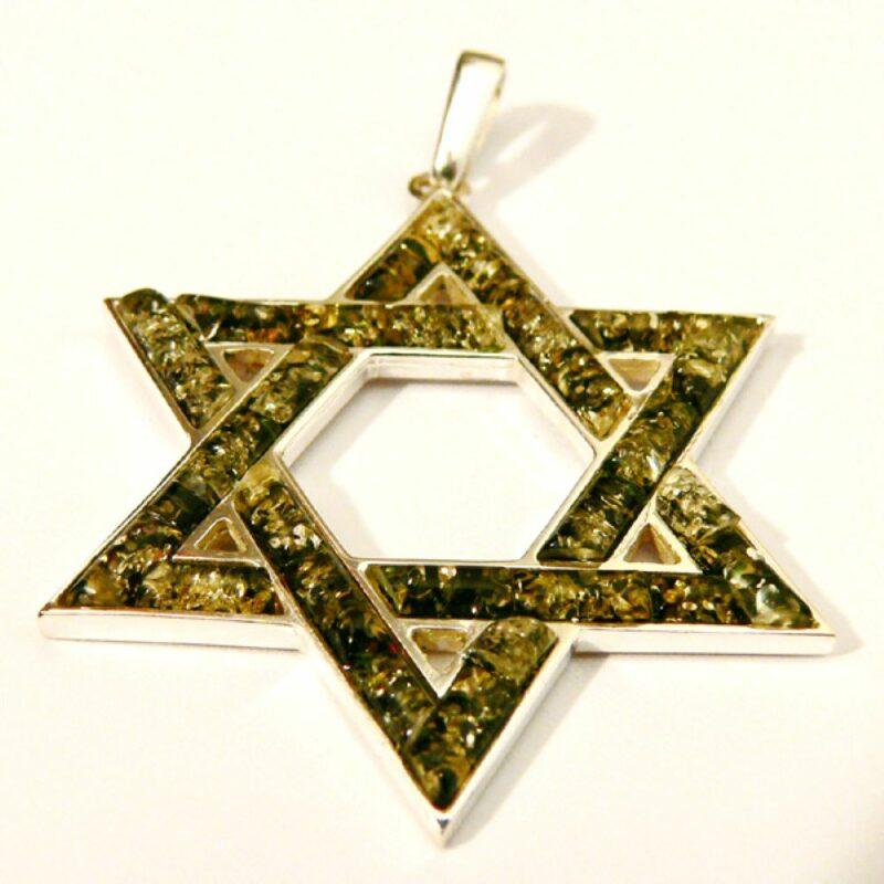 Green amber Judaica pendant -pin