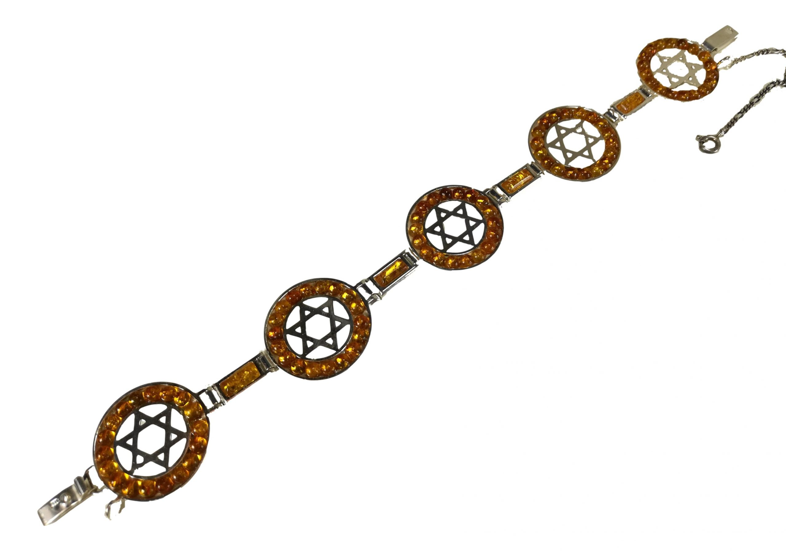 Lemon amber Jewish star bracelet