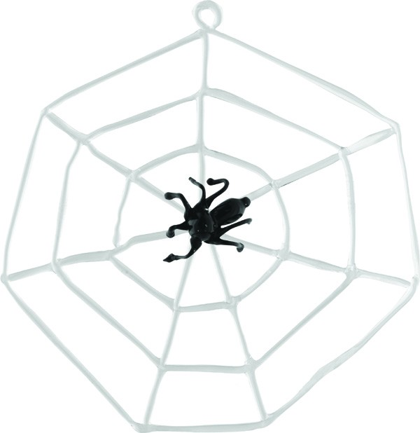 Spider in a cobweb glass ornament