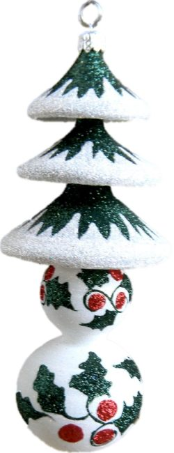 Holly and Pine glass tree ornament